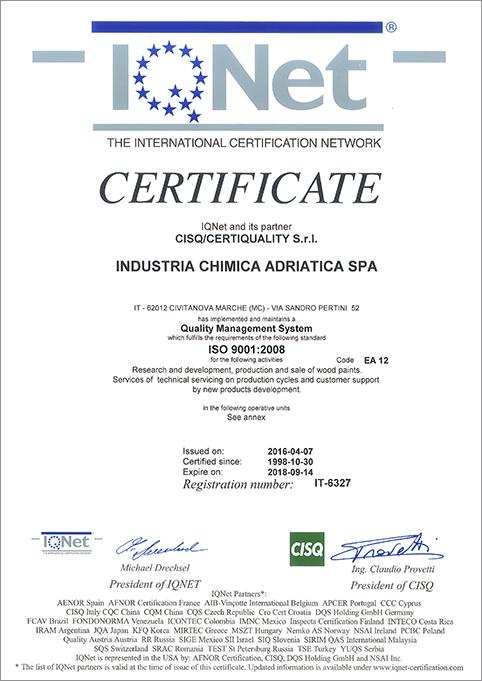 Certificazioni for Distribuzione italiana arredamenti